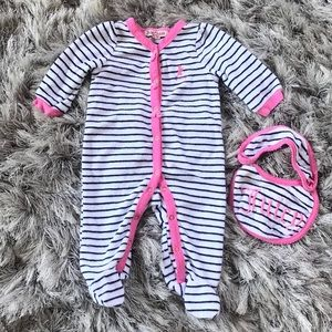 Juicy Couture striped footed onesie with bib